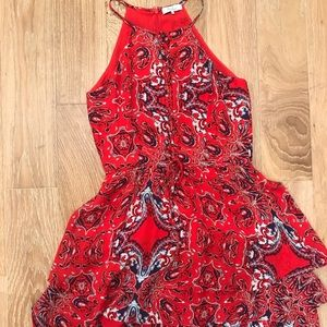 Parker red multicolored dress, size M